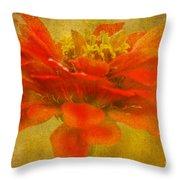 Red Zinnia Essence Throw Pillow