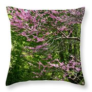 Redbud In The Woods Throw Pillow