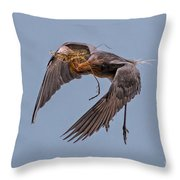 Reddish Egret With Nest Building Throw Pillow