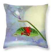 Redfrog And The Dragonfly Throw Pillow
