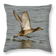 Redhead Taking Off Throw Pillow
