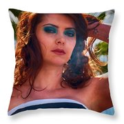 Redhead With A Star Tattoo  Throw Pillow