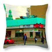 Rediscover Your Greenspot Notre Dame St Henri Dogs Et Frites Urban Food City Scenes Carole Spandau  Throw Pillow