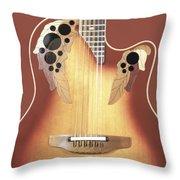 Redish-brown Guitar On Redish-brown Background Throw Pillow by Richard J Thompson