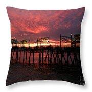 Redondo Beach Pier At Sunset Throw Pillow