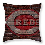 Reds Baseball Graffiti On Brick  Throw Pillow