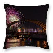 Reds Friday Night Fireworks Throw Pillow