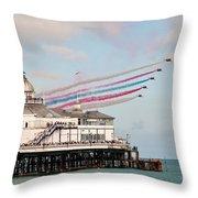 Reds Over Eastbourne Pier Throw Pillow