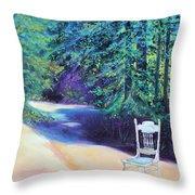 Redwood Path And White Chair Throw Pillow