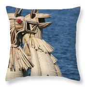 Reed Boat Lake Titicaca Throw Pillow