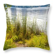 Reeds And Plants Close To The Shore Throw Pillow
