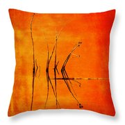 Reeds And Reflection In Orange Throw Pillow