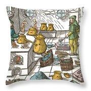 Refining Sulphur, 16th Century Throw Pillow