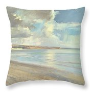 Reflected Clouds Oxwich Beach Throw Pillow