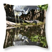 Reflected Great Blue Heron Throw Pillow