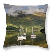 Reflected Yachts In Loch Leven Throw Pillow