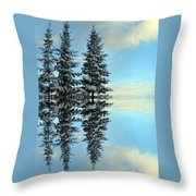 Reflecting Evergreens In Winter Throw Pillow