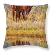 Reflecting Foal Throw Pillow