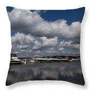 Reflecting On Boats And Clouds - Port Perry Marina Throw Pillow