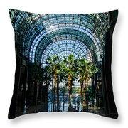 Reflecting On Palm Trees And Arches Throw Pillow by Georgia Mizuleva