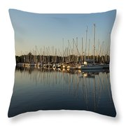 Reflecting On Yachts And Sailboats Throw Pillow