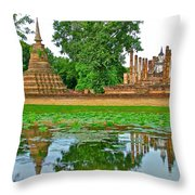 Reflecting Pool At Wat Mahathat In 13th Century Sukhothai Historical Park-thailand Throw Pillow