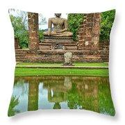 Reflecting Pool At Wat Mahathat In 13th Century Sukhothai Historical Park-thailand Throw Pillow
