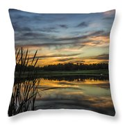 Reflection At Sunset With Cattails Throw Pillow