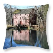Reflection At The Mill Throw Pillow