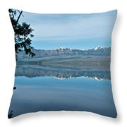 Reflection In Lake Mcdonald In Glacier National Park-montana Throw Pillow