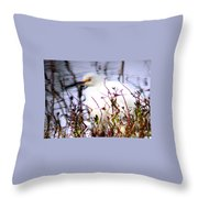 Reflection Of A Snowy Egret Throw Pillow