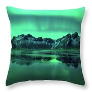 Reflection Of Aurora Borealis Throw Pillow