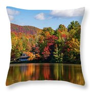 Reflection Of Autumn Trees In A Pond Throw Pillow