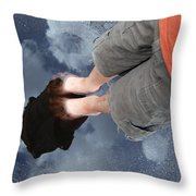 Reflection Of Boy In A Puddle Of Water Throw Pillow