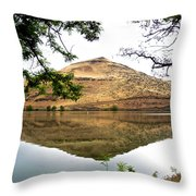 Reflection Of Butte Across From Lepage Rv Park Into Columbia River-oregon Throw Pillow