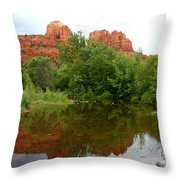Reflection Of Cathedral Rock Throw Pillow