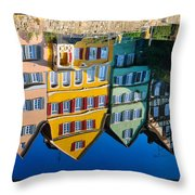 Reflection Of Colorful Houses In Neckar River Tuebingen Germany Throw Pillow