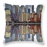 Reflection Of Downtown Nyc Throw Pillow