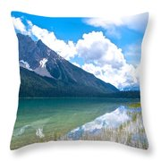 Reflection Of Glaciers And Clouds In Emerald Lake In Yoho National Park-british Columbia-canada Throw Pillow