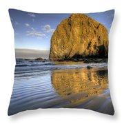 Reflection Of Haystack Rock At Cannon Beach 2 Throw Pillow
