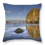 Reflection Of Haystack Rock At Cannon Beach 3 Throw Pillow