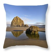 Reflection Of Haystack Rock At Cannon Beach Throw Pillow