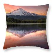 Reflection Of Mount Hood On Trillium Lake At Sunset Throw Pillow