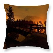 Reflection Of Mountains In Lake, Sunrise Throw Pillow