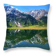 Reflection Of Mountains In Tern Lake Throw Pillow