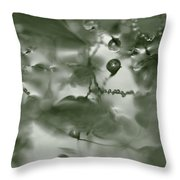 Reflection Of Raindrops In A Puddle - Monochrome Throw Pillow