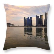 Reflection Of Singapore Skyline Panorama Throw Pillow