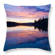 Reflection Of Sunset Sky On Calm Surface Of Pond Throw Pillow