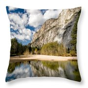 Reflections At Swinging Bridge Throw Pillow