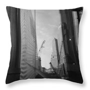Reflections At The 9/11 Museum In Black And White Throw Pillow